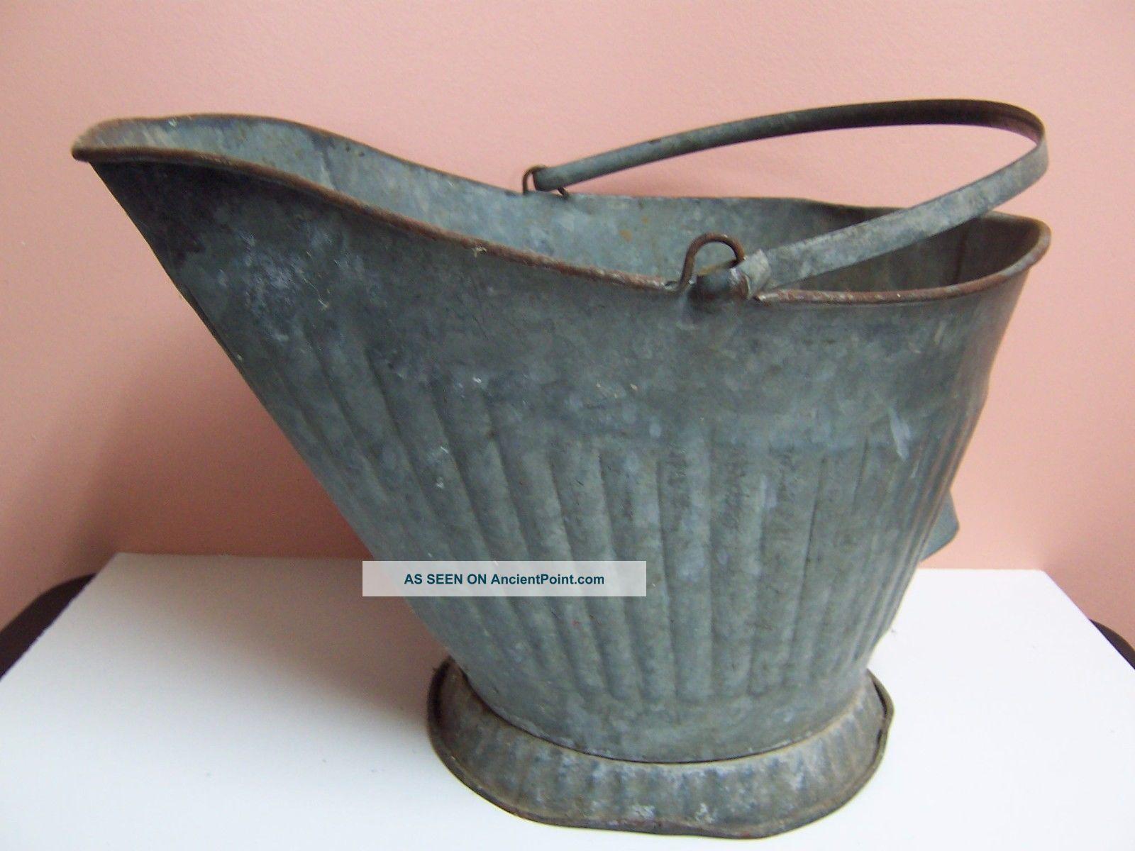 Vintage Antique Coal Scuttle Metal Ribbed Design 16
