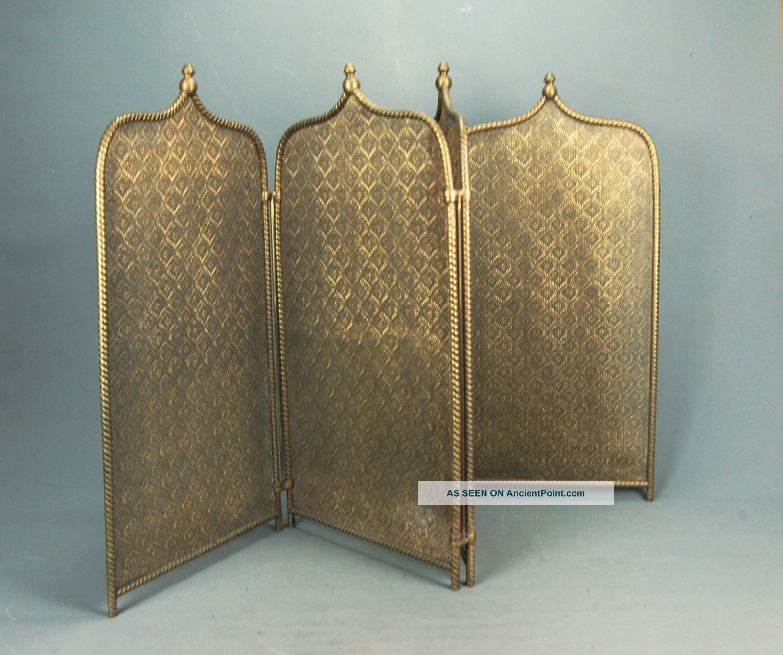 French Fireplace Folding Four Panel Pierced & Twisted Brass Fire Screen 19th C Hearth Ware photo