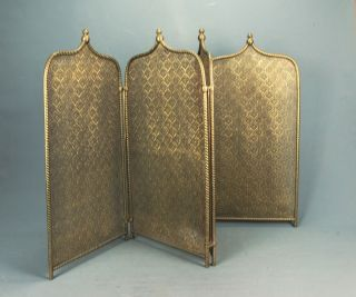 French Fireplace Folding Four Panel Pierced & Twisted Brass Fire Screen 19th C photo