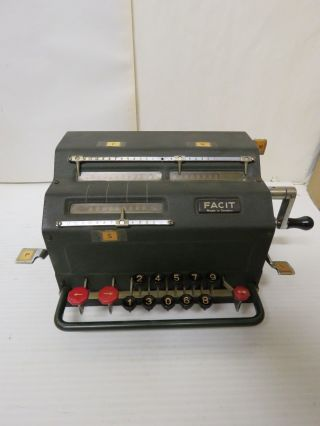 Old Antique Facit Mechanical Calculator,  Tk.  Perfectly.  Sweden.  10 Key. photo