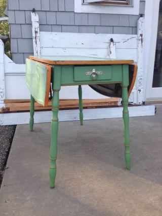 Vintage Enamel Porcelain Top 2 Drawer Kitchen Farm Table Rare Green/orange photo