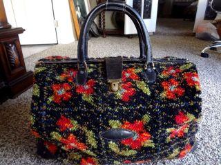 Antique Carpet Stagecoach Bag Traveler ' S Luggage Suitcase photo