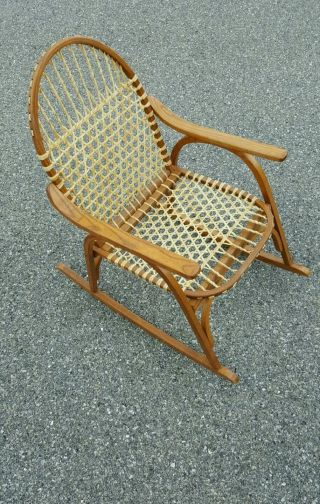 Vintage Vermont Tubbs Mid Century Modern Snowshoe Oak Chair Rocker Cane Seats photo