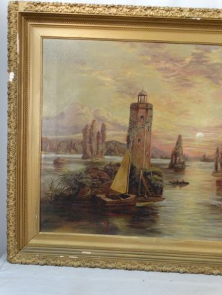 Lg Antique Victorian Seascape Lighthouse Boat Mountain Valley Folk Art Painting photo