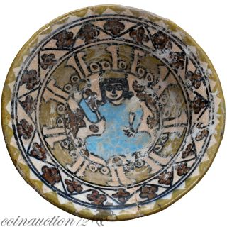 Museum Quality Near Eastern Islamic Terracotta Painted Bowl 1200 - 1400 Ad photo
