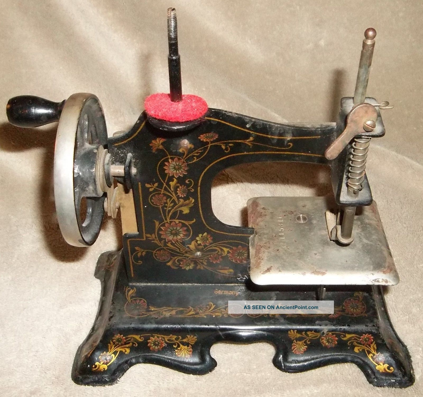 Vintage Antique German Childs Toy Metal Sewing Machine Hand Crank Tole Flower & Other Antique Sewing photo