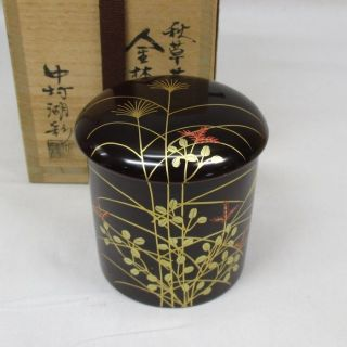 H915: Japanese Lacquer Ware Powdered Tea Container With Good Flower Makie W/box. photo