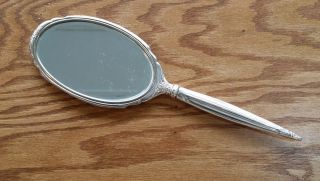 Antique Art Deco Sterling Silver Hand Mirror Marked Sb - 0615 photo