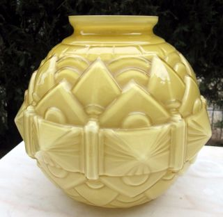 Antique 1920s Unusual French Art Deco Old Vintage Glass Geometric Modernist Vase photo