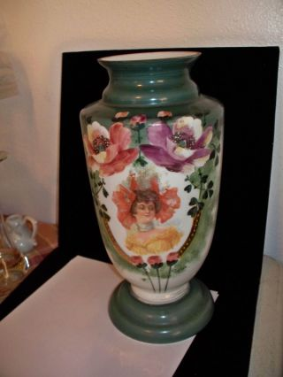 Hand Painted,  Vase,  Porcelain,  Victorian Lady photo