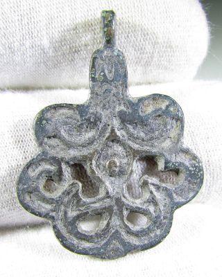 Rare Viking Era Bronze Open Work Pendant / Amulet - Wearable Artifact - Mn3 photo