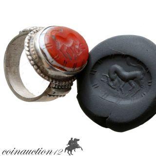Intact Massive Greek Silver Seal Ring Bull 1600 Ad photo