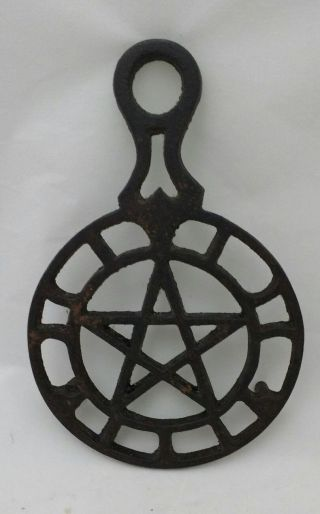 Cast Iron Trivet Wall Hanging Vintage Star Pentagram Heart Griswold? Footed photo