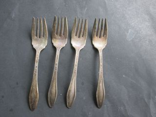 4 Salad Forks - International Old Company Plate 1919 Betsy Ross Pattern photo