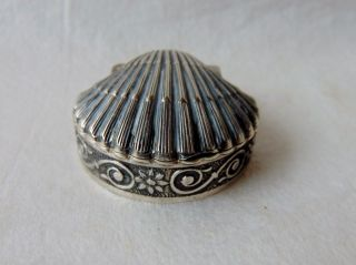 Vintage Sterling Silver Hinged Scallop Shell Pill Box Marked 925 photo