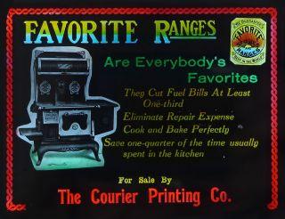 Antique Advertising Glass Magic Lantern Slide: Favorite Ranges Cooking Stoves photo