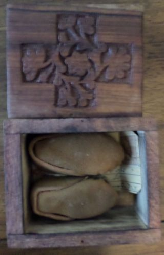 1939 Personalized Vintage Hand Made Moccasins In A Hand Carved Wooden Box photo