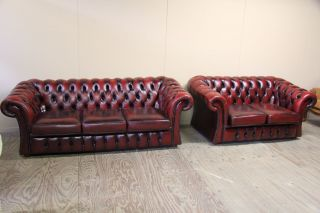 Antique English Three Seat Chesterfield Leather Sofa And Loveseat In Oxblood Col photo