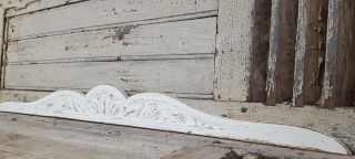 47.  24 In Antique French Carved Wood Shabby White Wall Door Bed Pediment photo