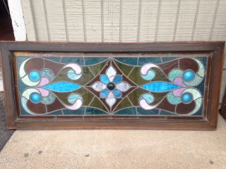 Antique Leaded Glass Window Greatcolors 48 By 20 Inches 5 Bull`s Eyes 100 Years photo