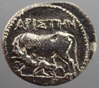 Apollonia,  Illyria,  Cow,  Suckling Calf,  Drachm,  Silver,  ApiΣthn,  200 - 80 B.  C. photo