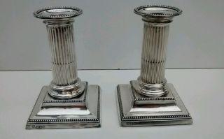 Sterling Silver.  925 Candlesticks Corinthian Column Hawksworth Eyre Ltd.  1895 photo
