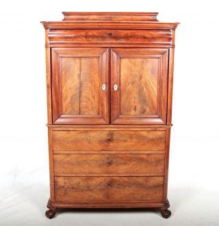 Antique Cabinet Bookcase Danish 19th Century Biedermeier Flamed Mahogany Victori photo