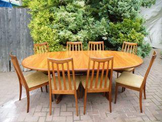 Mid Century Danish 1960s G Plan Fresco Teak Extending Dining Table & 8 Chairs photo
