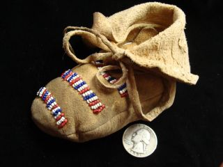 Single Native American Indian Beaded Baby Moccasin Chewed Deer Skin Early 1900 ' S photo
