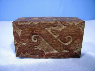 Rare Antique Indonesian Carved Dayak Wood Tattoo Block 3 Sided photo