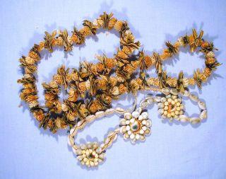 2 Vintage Wwii 1940 ' S Hawaiian Leis,  One Dried Flowers.  One Cats Eye Sea Shell photo