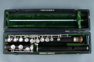 Antique Boehm Wooden Flute By Emil Rittershausen Berlin C1880 Besson & Co London photo