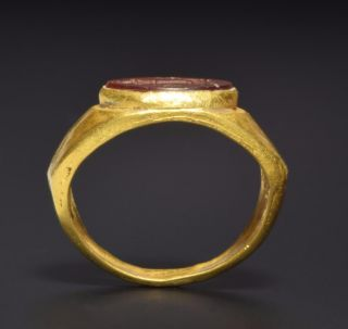 Roman Wearable Gold Ring With Intaglio Showing Altar Circa 3rd Century Ad. photo