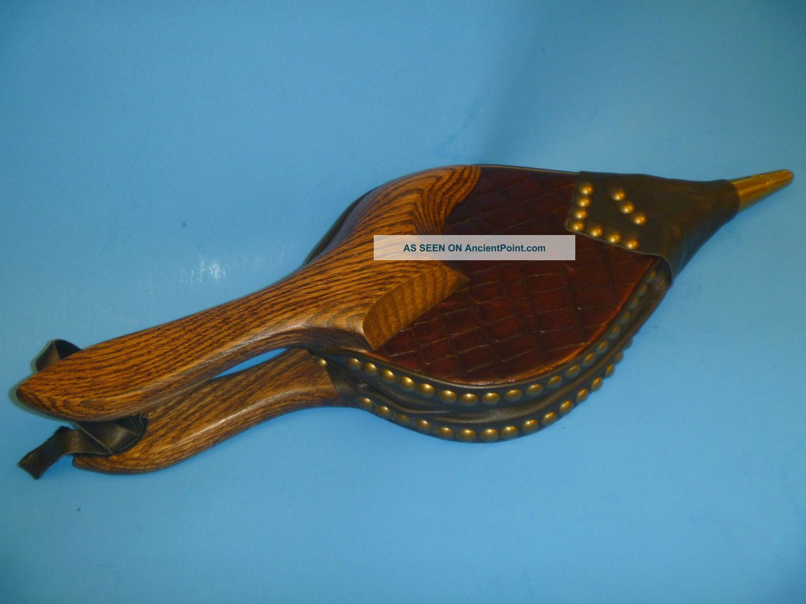 Lg.  Vintage J.  R.  Beard Fireplace Bellows Fire Wood Starter Solid Oak & Leather Hearth Ware photo