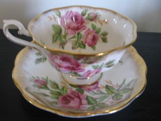 Royal Albert Pink Roses Gold China Cup And Saucer photo