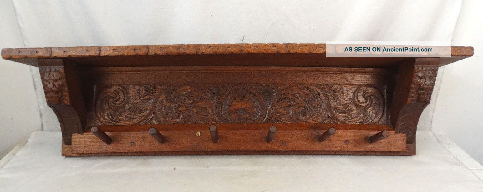 Antique English Wood Carved Hall Tree Lion Bust Old Victorian Era Coat Hat Rack 1900-1950 photo