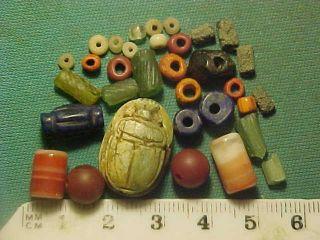30,  Ancient Beads Circa 1000 Bc - 400 Ad,  Egyptian Scarab Amulet photo