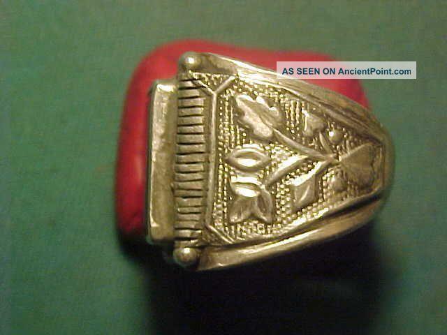 Near Eastern Hand Crafted Solid Silver Ring Garnet Stone 1700 - 1900 Near Eastern photo
