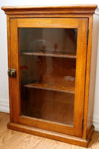Showcase Oak Counter Top Country Hardware Store Display Case Or Bathrooom Medic photo