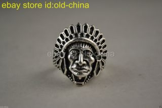 China Tibet Style Decorate Handwork Tibet Silver Tribal Chief Ring Noble photo