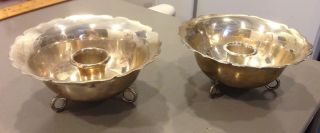 Vintage Mexican Sterling Silver Heavy Eddie ' S Candle Holders Bowls 347 Grams photo