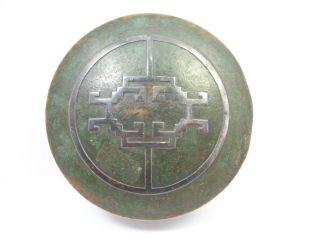 Antique Box Silver Crest Bronze Art Deco Silver Design Green Patina Dresser Box photo