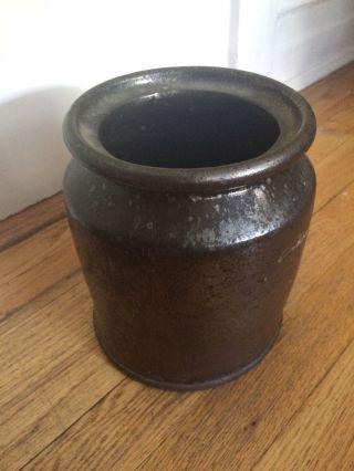 Dark Brown Antique Salt Glaze Crock Vintage Primitive photo