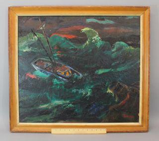 Antique Abram Tromka Storm Off Monkegan Sailboat Oil Painting York Wpa photo