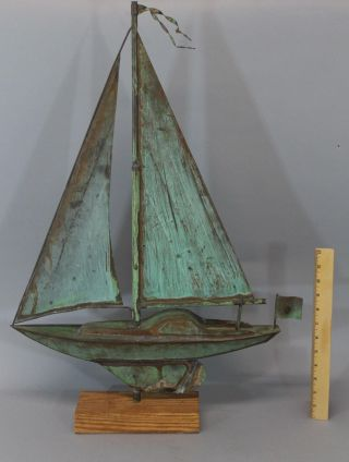 Small Handmade,  Full Body,  20thc Folk Art Copper Sailboat Weathervane,  Nr photo