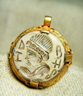 Ancient Unique Old Roman Solid Gold Pendant Stunning Intaglio White Agate Stone photo