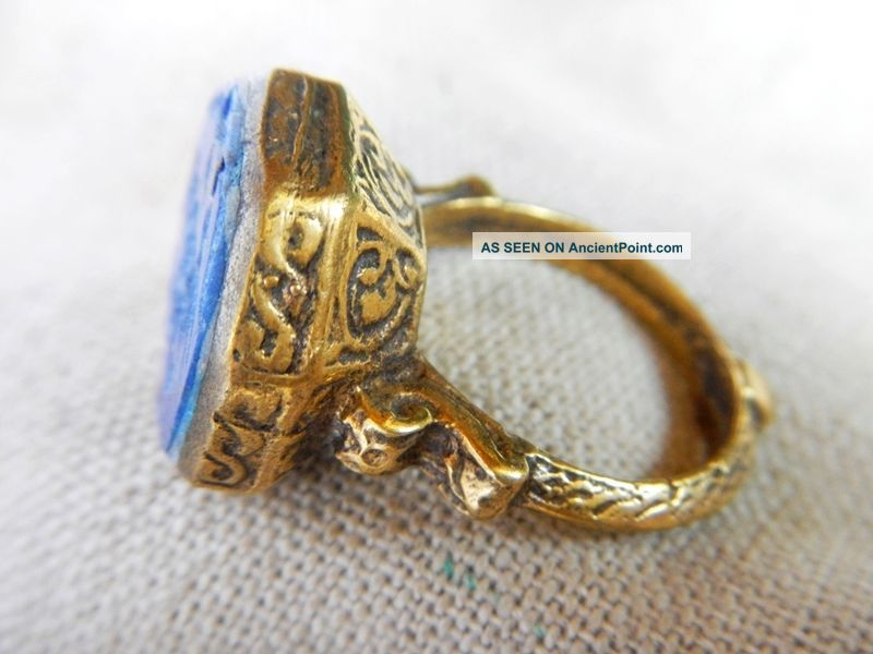 Old Medieval Gold Plated Hexagon Ring Lapis Lazuli Intaglio Stone Vintage Retro Near Eastern photo