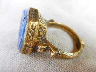 Old Medieval Gold Plated Hexagon Ring Lapis Lazuli Intaglio Stone Vintage Retro photo