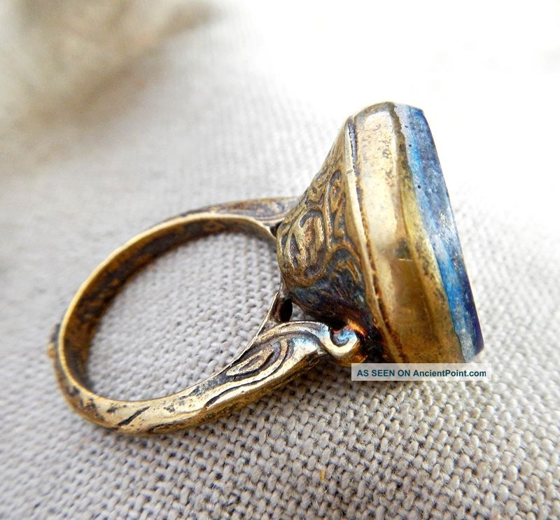 Old Medieval Gold Plated Ring Lapis Lazuli Horse Intaglio Stone Vintage Retro Near Eastern photo
