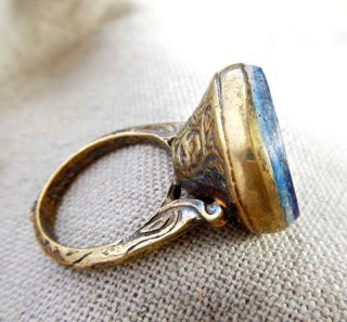 Old Medieval Gold Plated Ring Lapis Lazuli Horse Intaglio Stone Vintage Retro photo